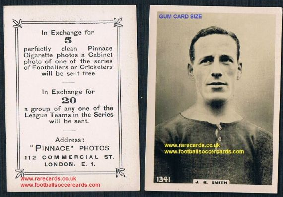 1921 Gum card size Pinnace tobacco card 1341 J R Smith Rangers